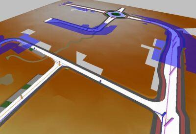 Wasserspiegelsimulation mit potenziellen Überflutungen