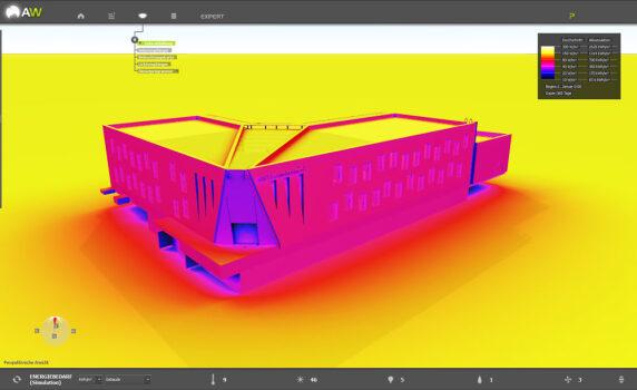 ArchiWIZARD demonstriert den thermischen Komfort im Sommer auf einer 3D-Oberfläche in Echtzeit.