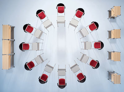 Seminartische, Seminarstühle, Besucherstühle, Seminartisch, Seminarstuhl, Besucherstuhl, Sideboards, non-territoriales Büro, Tische, Stühle, Schulungen, Konferenzen, Tisch, Stuhl
