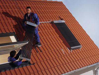 Röhrenkollektoren, Solarkollektoren, Sonnenkollektoren, Solaranlagen, Solartechnik, erneuerbare Energien