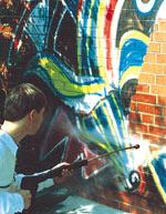 Graffitischutz, Anti-Graffiti-System, Graffitis, Fassade, Hauswand, Graffiti-Schutz,Bundesanstalt für Straßenwesen, bast, Anti-Graffiti-Systeme, Baustofftechnik, Heißwasser-Hochdruck-Reiniger