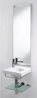Waschtisch, Gästebad, Gäste-WC, Restrooms, Restroom, Waschtische, Spiegel, Waschbecken, Beleuchtung, Handtuchhalter, Glasablagefach, Armaturen