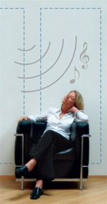Lautsprecher, Raumklang-System, Lautsprecherboxen, Lautsprecherwand, unsichtbare Lautsprecher, Klangwände, Klangwand, Raumklangsystem, Soundboard, Polyurethan