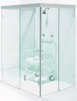 behindertengerechte Duschkabine, Glas, Krankenhaus, Altenheim, Sanitäranlagen, Duschen, Sicherheitsglas, Beschläge
