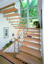 Treppen, Treppe, Treppenkonstruktion, Edelstahlreling, Treppengeländer, Geländer, Treppenhersteller, Treppenbauer