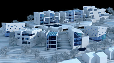 Architektur, Wohnanlage, Hanggrundstück, Architektenteam, Wohnkultur, Baustoffe, Dachwohnfenster, Dachfenster, Fenstertechnik, Einzelhäuser, Doppelhäuser, Architekten