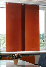 Sonnenschutzvorhang, Sonnenschutz, Glasvorhang, Lichtschutz, Fenster, Textilvorhänge, Jalousien, Textilvorhang, Jalousie, Einscheiben-Sicherheitsglas, Siebdruck, Innenraumgestaltung, Türen, Trennwände, Heizkörperabdeckung, Punkthalter, Glaselemente