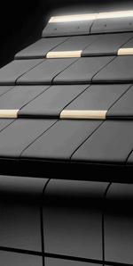 Dachziegel, Fassadenziegel, Dach-Fassade-Verbindung, Dach, Wand, Dachdeckung, Fassade, störende Dachrinne, Dachrinnen, T-Link-Ziegel, ERLUS, Fassadenabschluss, LED-Leuchtfirst, Dach-Fassade-Anschluß