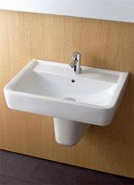Waschtisch, Waschbecken, Renova Nr. 1 Plan, eckiges Design, eckige Handwaschbecken, WC, WC-Sitz, Sanitärbereich, Waschtische, Halbsäule, Wand-WC, Tiefspüler, Flachspüler, Wand-Toilette, Toiletten-Sitz, Toiletten-Deckel, Keramikobjekte