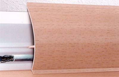 Sockelleisten, Fußbodenleiste, Kabelkanal, Sockelleiste, Fußbodenleisten, Kabelkanäle, Kunststoff-Sockelleiste, Holzoptik, Holzdekor, Dekorprofil