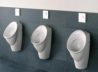 Urinal, elektronisch gesteuerte Urinalspülung, Urinale, Urinalsteuerung, Sanitärobjekt, Urinal-Armaturen, Urinal-Armatur, Armaturen, Armatur, Urinalarmatur, automatischer Spülvorgang