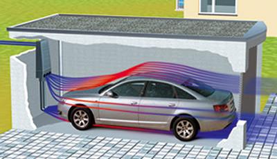 Garagenbelüftung, Oldtimer-Garage, Garagenlüftung, belüftete Garage, Lüftung, Autogarage, Oldtimergarage, Garage mit Belüftungssystem, Lüfter, Belüftungssystem