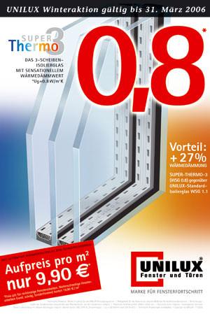 Dreischeiben-Isolierglas, Fensterglas, Fenster, Unilux Fensterprogramme, Isolierglas, Wärmedämmung