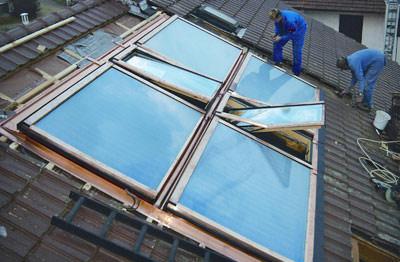 Wohndachfenster, Dachfenster, Dachflächenfenster, Solarthermie, Photovoltaik, Renovierungsfenster, Isolierverglasung, Klapp-Schwingfenster, Isolierglas, elektrischer Außenrollladen