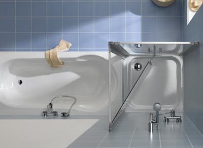 Duschkabine, Duschkabinen, Duschabtrennung, Duschwände, Duschabtrennungen, Duschwand, Duschtasse, Badewanne, Vorwandinstallation, Seitenwände, Beschläge, Badgestaltung