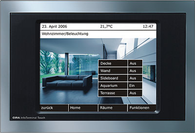 Gira, Gebäudetechnik, Gebäudemanagement, KNX / EIB, Gebäudeautomation, Schaltzentrale, Licht schalten, InfoTerminal, dimmen, Jalousien steuern, Busfunktionen, Zeitschaltfunktion, Echtzeituhr, TFT-Touch-Display, Gira Online-Dienst, SmartTerminal, Gewerbebau, FacilityServer, Facility Management, Lichtszenen, Pro-face