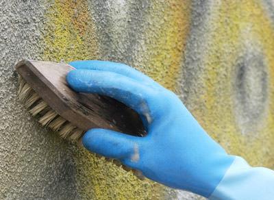 Graffiti-Entferner, Graffiti, Bondex Graffitientferner, Graffitis, Putzfassade, Natursteinfassade, Fassadenfarbe, Fliesen, verputzte Fassade, Putz, geflieste Fassade