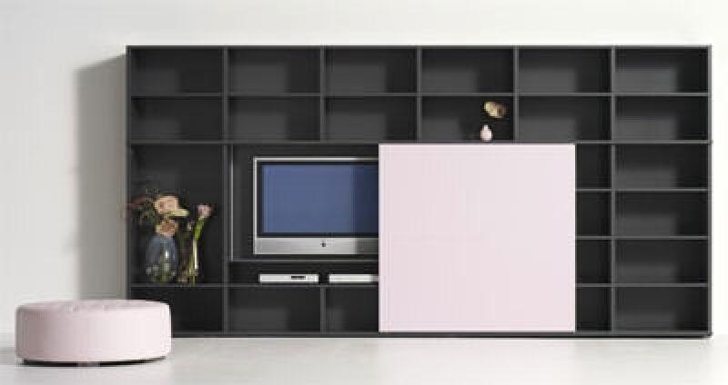 Medienmöbel, Regal, Regale, interlübke, Kastenmöbel, Unterhaltungselektronik, Home Entertainment, Flachbildschirm, Hochglanzlack, TV-Kommode