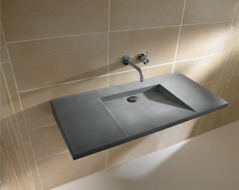Waschtisch aus Beton, Betonwaschtisch, Sichtbeton, Doppelwaschtisch, Waschtische, Doppelwaschtische, Lotuseffekt, Lotoseffekt, Betonmischung, ebener Wasserablauf