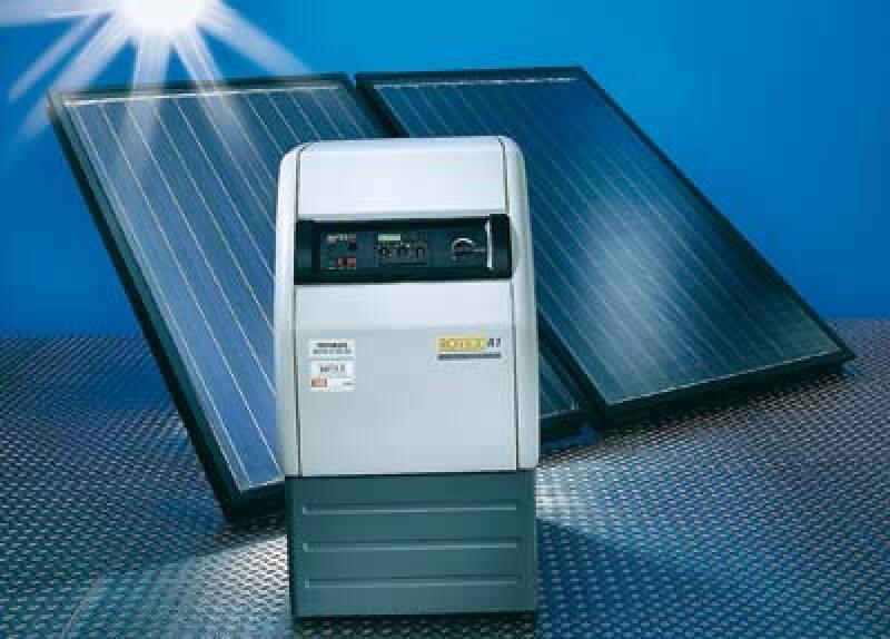 solare Heizungsunterstützung, Solarheizung, Öl-Brennwertkessel, Solaranlage, Heizöl, Ölheizung, Primärenergieaufwand, Brennwerttechnik, Warmwasserbereitung, Solarwärme, Brennwertkessel, Raumheizung, Solarthermie, Brennwertnutzung