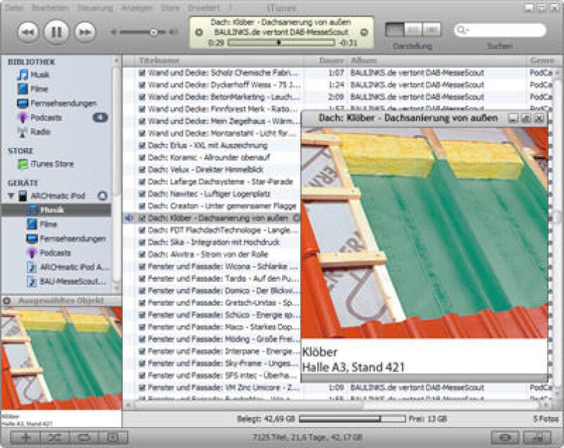 BAU 2007, Deutsches Architektenblatt, PodCast, vertonter MesseScout, Windows Mediaplayer, DAB, MesseScout zur BAU 2007, iPod gewinnen, Apple iTunes
