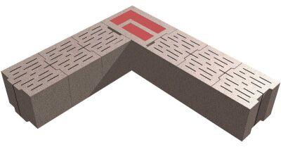 Bisomarkeckstein in einem 30 cm starken Bisoplan-Mauerwerk