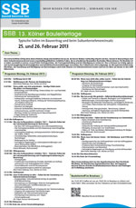 Agenda mit Anmeldeformular für die Kölner Bauleitertage am 25. und 26. Februar 2013