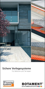 """Broschüre """"Sichere Verlegesysteme für Balkone und Terrassen"""" von Botament Systembaustoffe und Schlüter-Systems"""