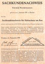 """Sachkundeausbildung """"Holzschutz am Bau"""""""
