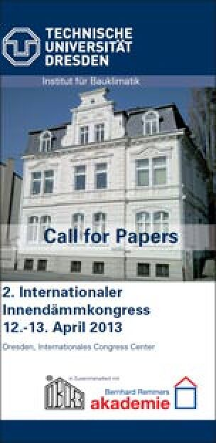 Flyer: 2. Internationaler Innendämmkongress im April in Dresden