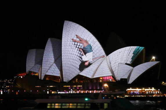 """Lighting The Sails"" (Sydney) von Urbanscreen; Foto: Urbanscreen"