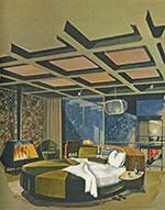 Master Bedroom im Playboy Townhouse (Architekt: R. Donald Jaye, Zeichnung: Humen Tan) Maiausgabe Playboy 1962