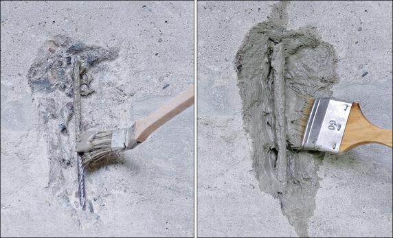 Der mineralische Korrosionsschutz weber.rep KB duo kann gleichzeitig als Haftbrücke eingesetzt werden.