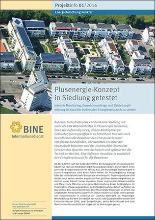 """BINE-Projektinfo """"Plusenergie-Konzept in Siedlungen getestet"""" (01/2016)"""
