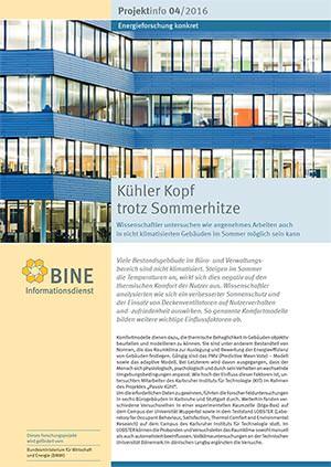 """BINE-Projektinfo """"Kühler Kopf trotz Sommerhitze"""" (04/2016)"""