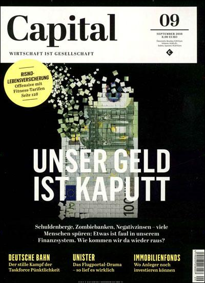 Wirtschaftsmagazin Capital in der Ausgabe 9/2016.